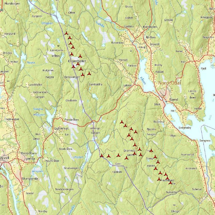 Odal Vindkraftverk - Oversiktskart